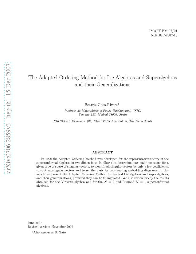 Beatriz Gato-Rivera - The Adapted Ordering Method for Lie Algebras and Superalgebras and their Generalizations