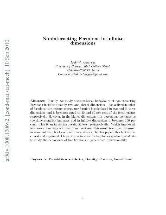 Muktish Acharyya - Noninteracting Fermions in infinite dimensions