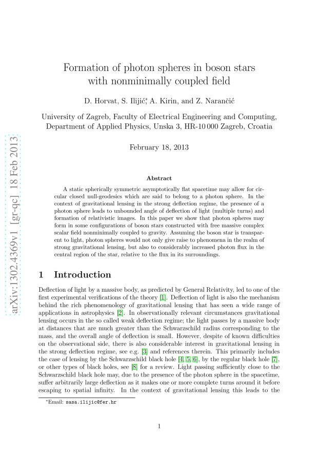 Dubravko Horvat - Formation of photon spheres in boson stars with a nonminimally coupled field