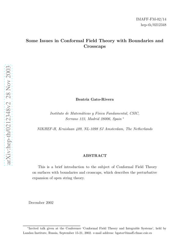 Beatriz Gato-Rivera - Some Issues in Conformal Field Theory with Boundaries and Crosscaps