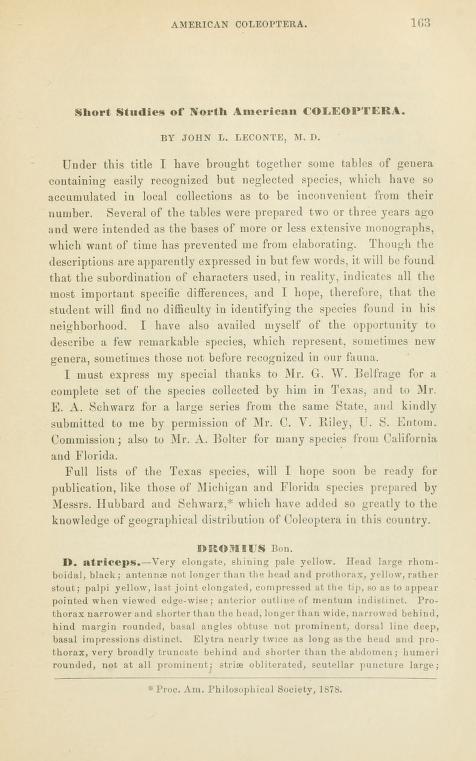 LeConte (1880) Trans. Am. Ent. Soc. 8: 163-218
