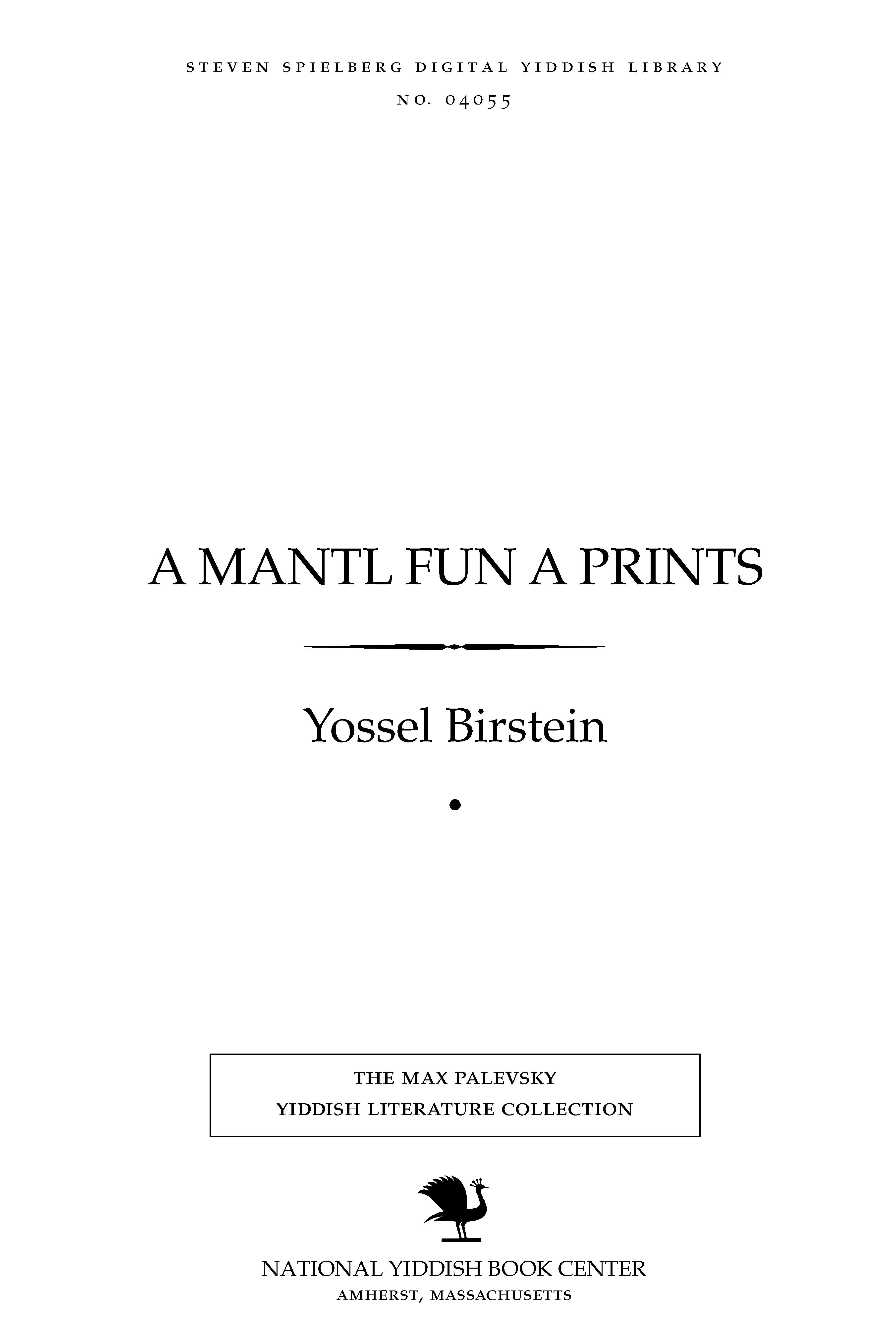 Cover of: A mantl fun a prints