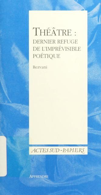 Cover of: Théâtre   Rezvani